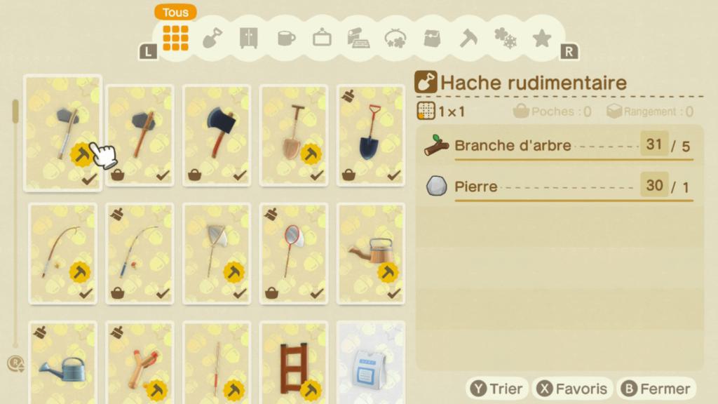 Les matériaux de crafts sur Animal Crossing New Horizons