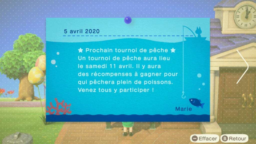 Le tournoi de pêche dans Animal Crossing New Horizons
