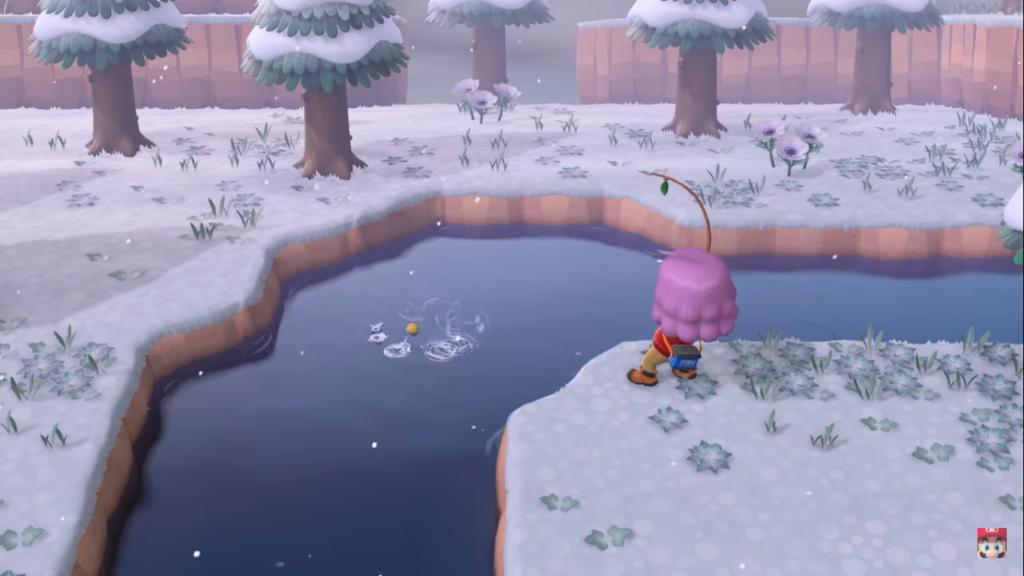 La pêche en hiver dans dans Animal Crossing New Horizons