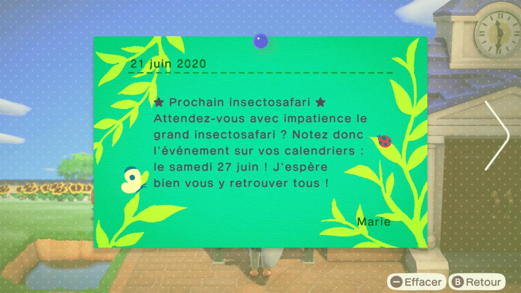 L'insectosafari dans Animal Crossing New Horizons