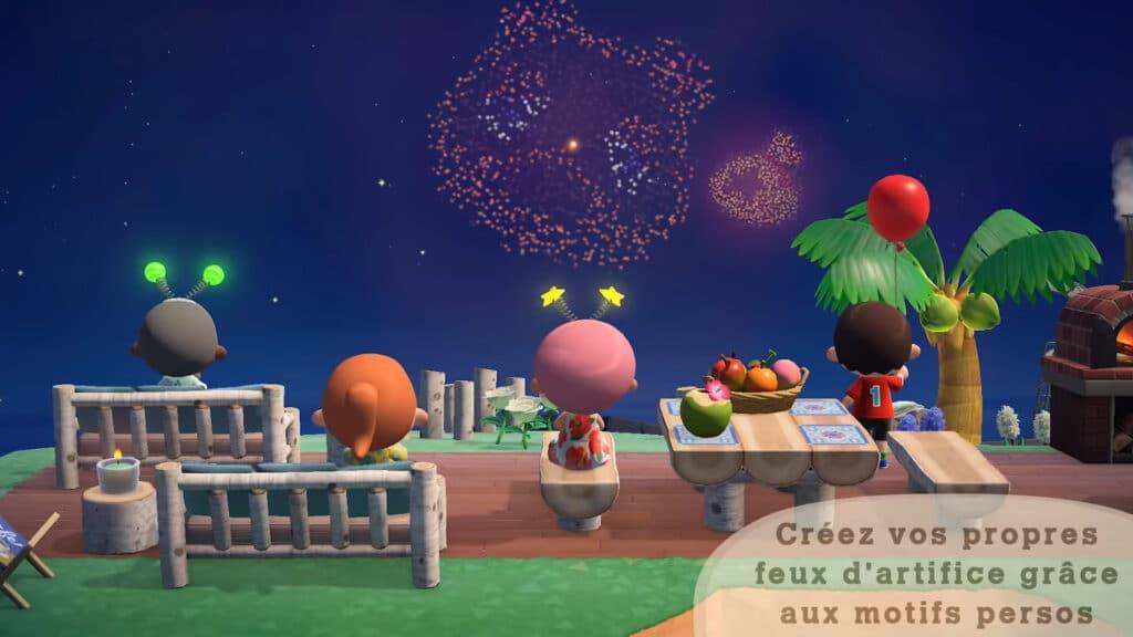 Serena et feux d'artifice sur Animal Crossing New Horizons